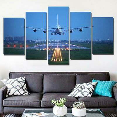 Airplane Blue Sky - 5 Panel Canvas Print Wall Art Set