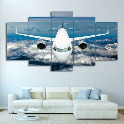 Airplane Cross Blue Ocean - 5 Panel Canvas Print Wall Art Set