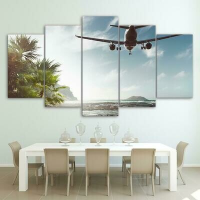 Airplane Fly Over Sea - 5 Panel Canvas Print Wall Art Set