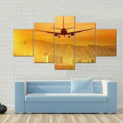 Airplane Flying Above City - 5 Panel Canvas Print Wall Art Set