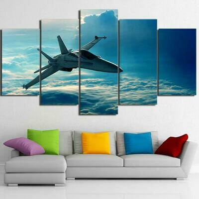Airplane Flying In Clouds - 5 Panel Canvas Print Wall Art Set