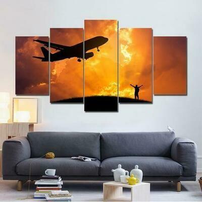 Airplane Golden Clouds - 5 Panel Canvas Print Wall Art Set