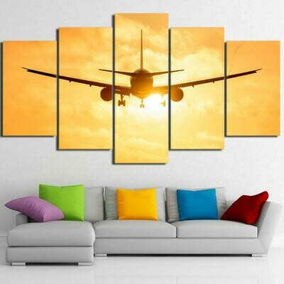Airplane In Sunset - 5 Panel Canvas Print Wall Art Set