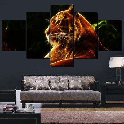 Abstract Animal Tiger Multi Canvas Print Wall Art