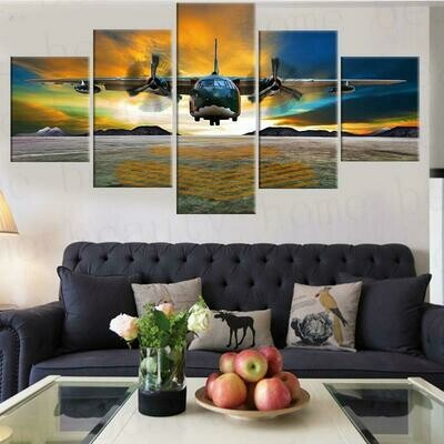 Airplane Picture - 5 Panel Canvas Print Wall Art Set