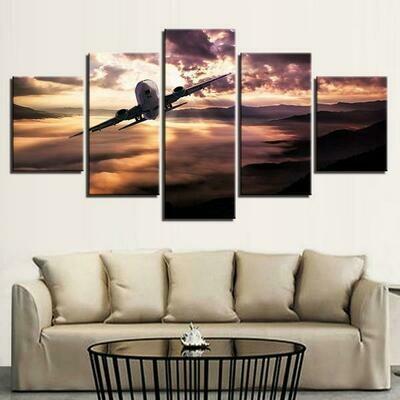 Aircraft Jet At Sunset Scenery - 5 Panel Canvas Print Wall Art Set