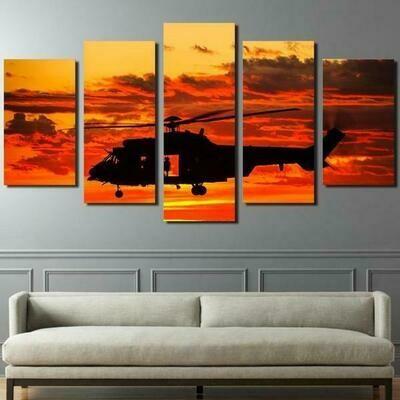 Aircraft Orange Sunset - 5 Panel Canvas Print Wall Art Set