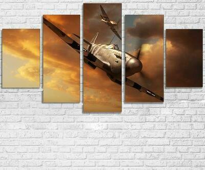 Airplane Aircraft Landscape - 5 Panel Canvas Print Wall Art Set