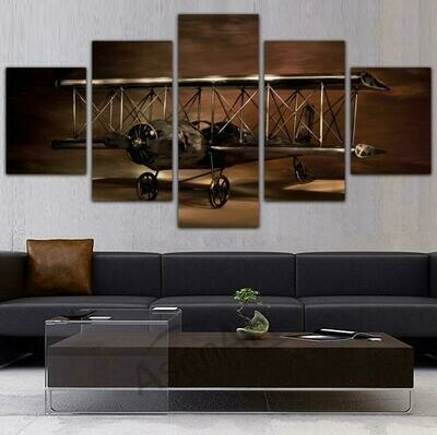 Airplane Aircraft Model Biplane - 5 Panel Canvas Print Wall Art Set
