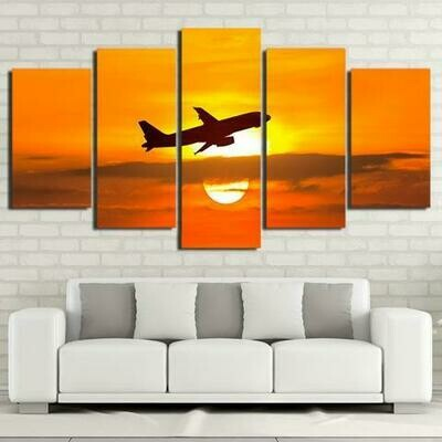 Airplane And Golden Sunset - 5 Panel Canvas Print Wall Art Set