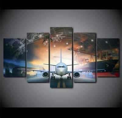 Airplane City - 5 Panel Canvas Print Wall Art Set