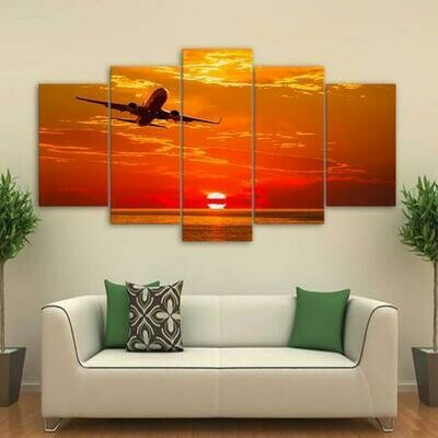 Airplane Flying In Sunset - 5 Panel Canvas Print Wall Art Set