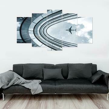 Airplane Flying Over Building - 5 Panel Canvas Print Wall Art Set