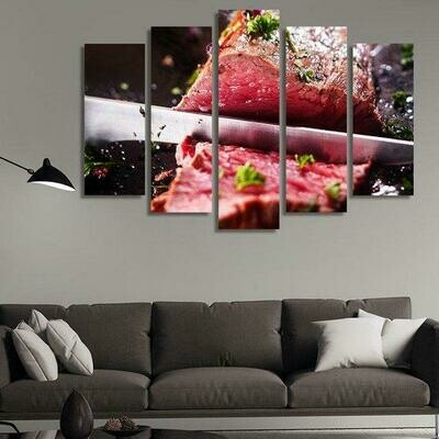 Beef Cuts Black Angus Meat Slicer Restaurant - 5 Panel Canvas Print Wall Art Set