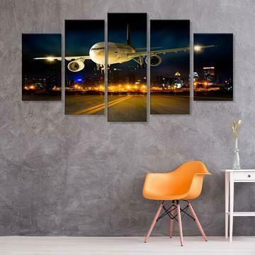 Airplane Night Flight Landing - 5 Panel Canvas Print Wall Art Set