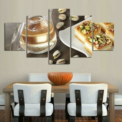 Cake Poster - 5 Panel Canvas Print Wall Art Set
