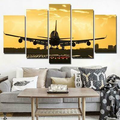 Airplane Golden Sunset - 5 Panel Canvas Print Wall Art Set