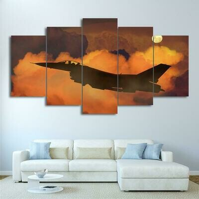 Airplane In Clouds - 5 Panel Canvas Print Wall Art Set