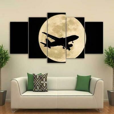 Airplane In Moon Night - 5 Panel Canvas Print Wall Art Set