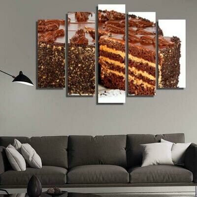 Attractive Breakfast - 5 Panel Canvas Print Wall Art Set