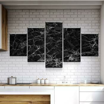 Black Marble - 5 Panel Canvas Print Wall Art Set