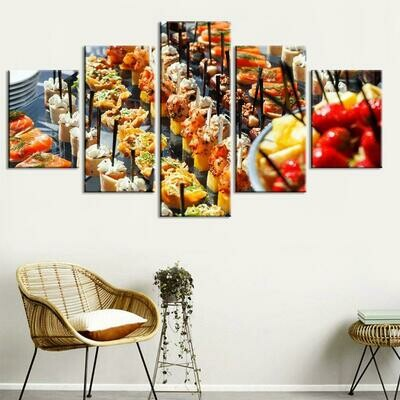 Bread Snacks - 5 Panel Canvas Print Wall Art Set