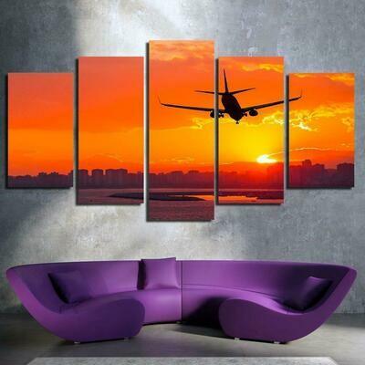 Airplane Sunset - 5 Panel Canvas Print Wall Art Set