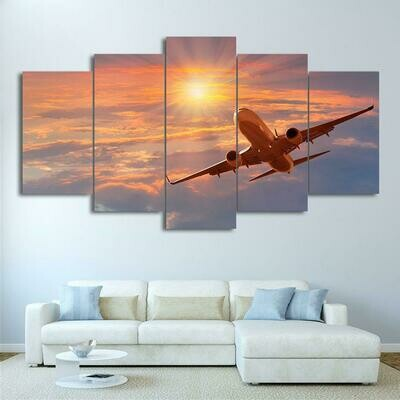 Airplane Sunset Cloud - 5 Panel Canvas Print Wall Art Set