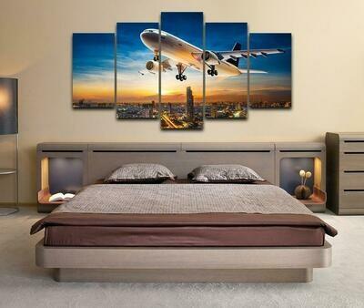 Airplane Sunset Landscape - 5 Panel Canvas Print Wall Art Set