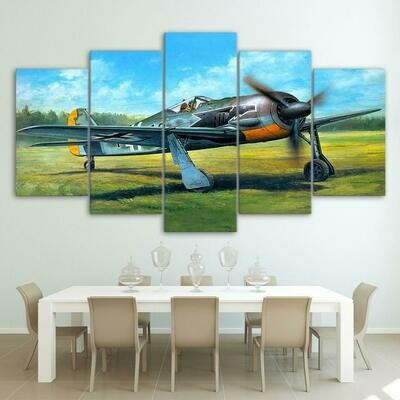 Airplane Take Off On Green Grass - 5 Panel Canvas Print Wall Art Set