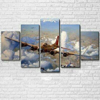 B-17 Bombers WW2 Airplane - 5 Panel Canvas Print Wall Art Set