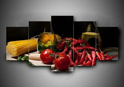 Cooking Abstract - 5 Panel Canvas Print Wall Art Set