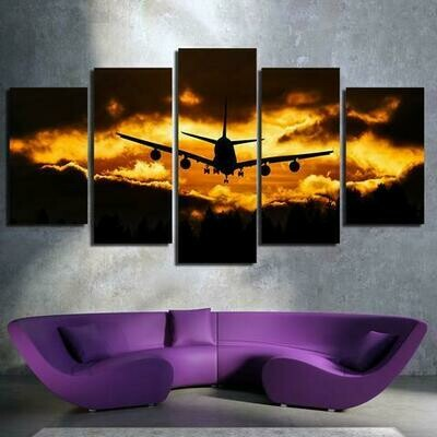 Dark Clouds And Airplane In Sunset - 5 Panel Canvas Print Wall Art Set