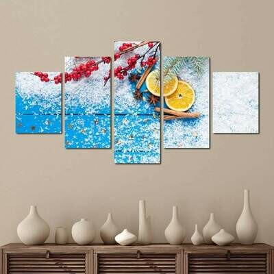 Christmas Sweets - 5 Panel Canvas Print Wall Art Set