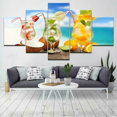 Drink Landscapes - 5 Panel Canvas Print Wall Art Set