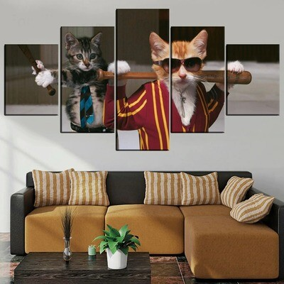 Abstract Animal Cat People Multi Canvas Print Wall Art