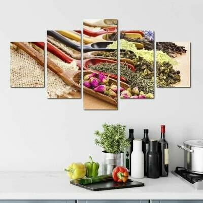 Assortment of Dry Tea - 5 Panel Canvas Print Wall Art Set