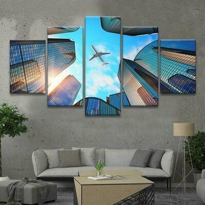 Airplane In Flight - 5 Panel Canvas Print Wall Art Set