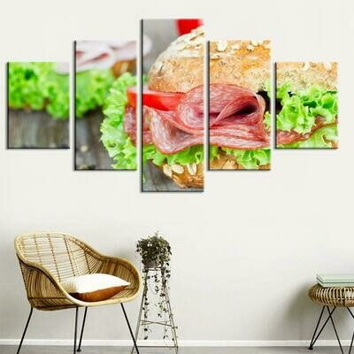 Bread Snacks Landscapes - 5 Panel Canvas Print Wall Art Set