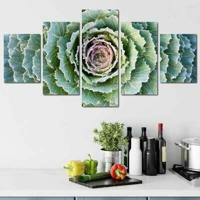Cabbage in the Garden - 5 Panel Canvas Print Wall Art Set