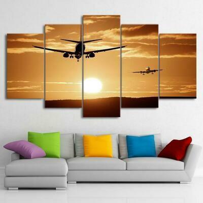 Airplane Sunset Hd - 5 Panel Canvas Print Wall Art Set