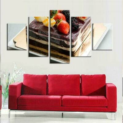 Cake Landscapes - 5 Panel Canvas Print Wall Art Set