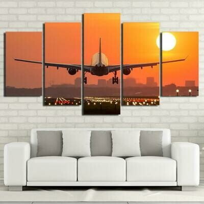Airplane Sunset Modular - 5 Panel Canvas Print Wall Art Set