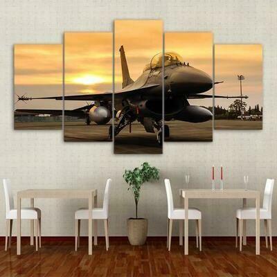 Airplane Sunset On Field - 5 Panel Canvas Print Wall Art Set