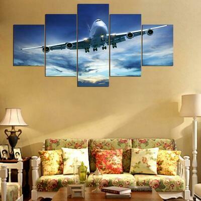 Cool Airplane - 5 Panel Canvas Print Wall Art Set
