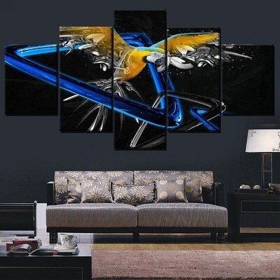 Abstract Blue And Yellow Macaw Multi Canvas Print Wall Art