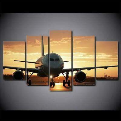 Golden Sunset Jet Airplane Aircraft - 5 Panel Canvas Print Wall Art Set