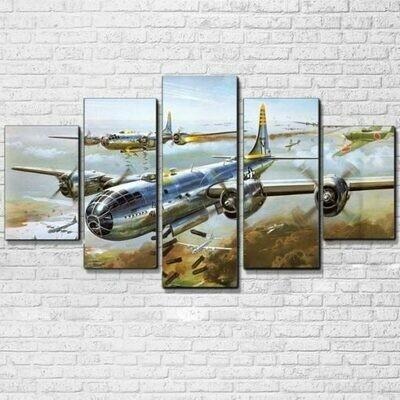Military Airplane Jet Aircraft - 5 Panel Canvas Print Wall Art Set
