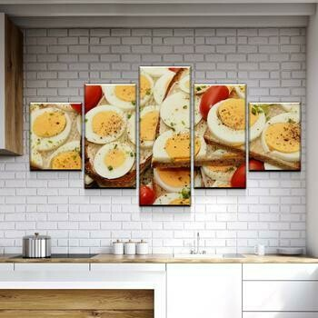 Eggs On Everything - 5 Panel Canvas Print Wall Art Set