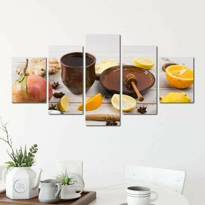 Flu and Cold Remedy - 5 Panel Canvas Print Wall Art Set